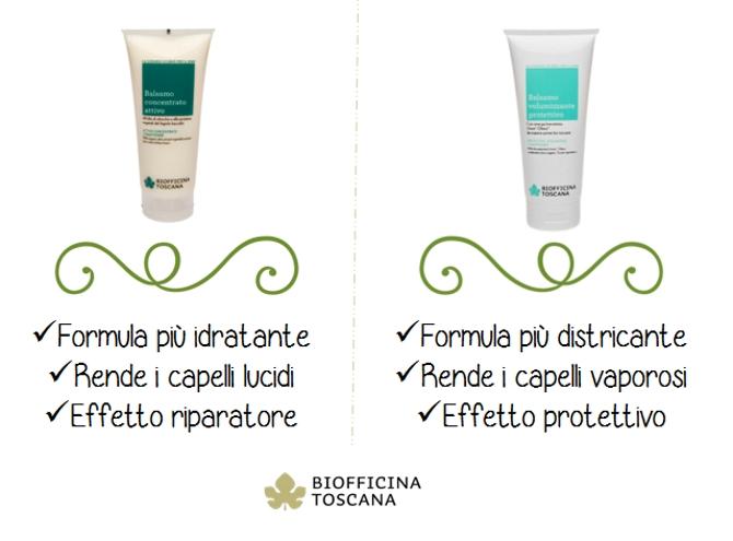 Balsamo concentrato attivo vs balsamo volumizzante protettivo by Biofficina Toscana